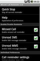 Screenshot of Missed Call Reminder