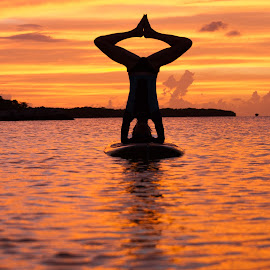 SUP Headstand by Troy Wheatley - Sports & Fitness Other Sports ( water, balance, headstand, sunset, paddleboard, yoga )