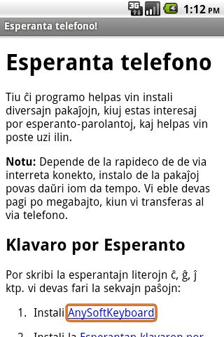 Esperanto en la telefono