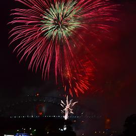 High In the Sky by Kamila Romanowska - Abstract Fire & Fireworks ( new year, 2015, australia, fireworks, nye, celebration, sydney )