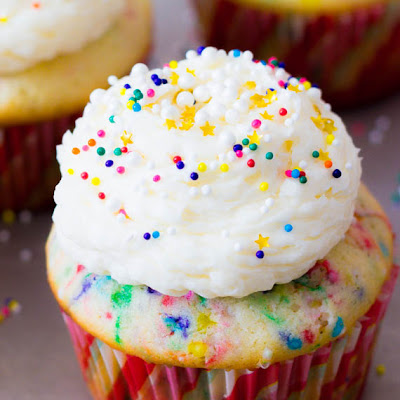 Easy Homemade Funfetti Cupcakes.