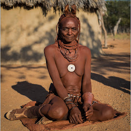 Blue Eye Himba Grandmother by Rick Venter - People Portraits of Women