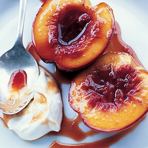 Roasted Nectarines with Ginger and Brown Sugar