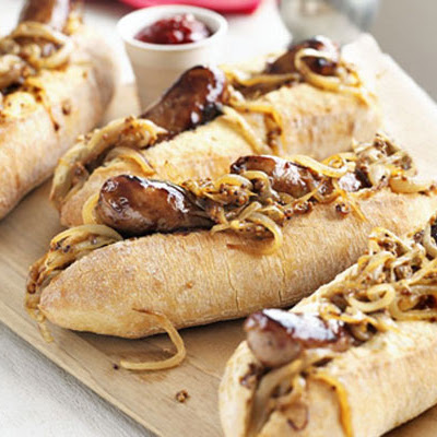 Maple-glazed Hot Dogs With Mustardy Onions