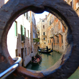 Venice in the circle by Yong Ee Vonn - Landscapes Travel ( water, building, lock, venice, travel, boat, people, canal, italy )