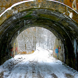Through by David W Hubbs - City,  Street & Park  Street Scenes ( graffiti, snow and tunnel, snow, colourful tunnel, tunnel )