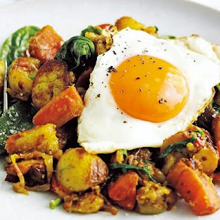 Indian Bubble And Squeak With Fried Eggs