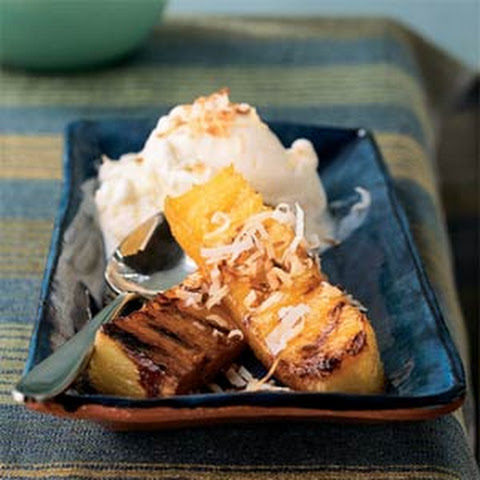 Rum-Glazed Pineapple with Toasted Coconut and Vanilla Ice Cream Recipe ...