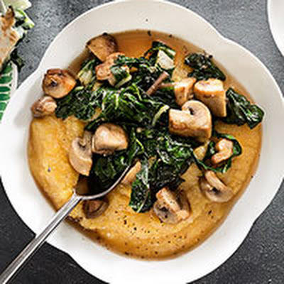 Parmesan Polenta with Mushrooms & Chard
