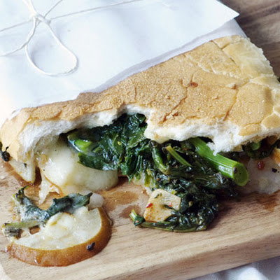 Broccoli Rabe, Pear, and Fontina Sandwich