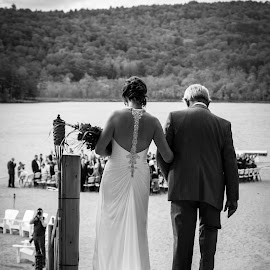 Father and Daughter by Amy Smirk - Wedding Bride ( blackandwhite, america, weddings, brantlake, bride, pointopines, father )
