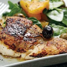 Grilled Halibut With Spinach, Orange & Olive Medley