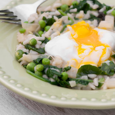 Spring Vegetable Risotto with Poached Egg