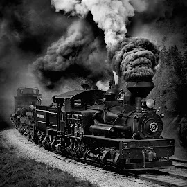 Steam Train in BW by Chuck  Gordon  - Black & White Objects & Still Life ( cass, shay, rail, bw, train, tracks, raiolroad, steam )