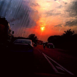 by Sivani Siva - Instagram & Mobile iPhone ( sunset, from, my, view, nature, colourfull, sky, clouds, road, vehicles, ssvphotography )
