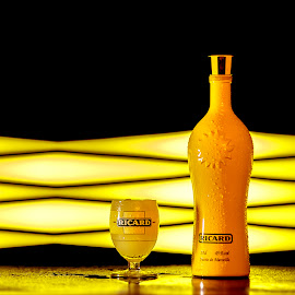 Feel Sunny with Ricard by Sander Vanhee - Food & Drink Alcohol & Drinks ( water, light painting, ice, alcohol, yellow, drinks,  )