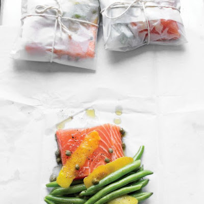 Salmon with Green Beans and Lemon Zest