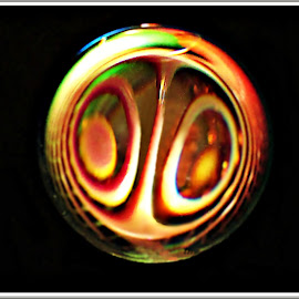 Refractology 2 by Kathy Hancock - Abstract Patterns ( slinky, crystal ball, blackie, glass, artistic object, refraction )