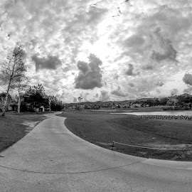 by Tim Mikolajczyk - Sports & Fitness Golf ( clouds, fisheye, golf course, overcast, pond,  )