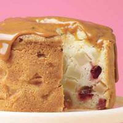 Fresh Winter Fruit Cake with Caramel Glaze