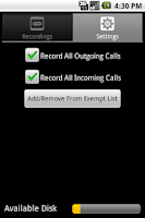 Screenshot of Phone Recorder