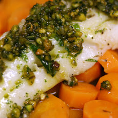 Sautéed Bass with Mint Pesto and Spiced Carrots