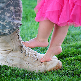 My dad is my hero by Liz Childs - People Family ( army, dad, tutu, daughter, feet )