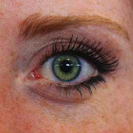 New York Left Eye by Shawn Taylor - People Body Parts ( face, eyelashes, green eyes, freckles, close up, eye )