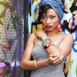 African Head Wrap by Monika Schaible - People Fashion ( skate park, urban, graffiti, monika schaible, african head wrap )