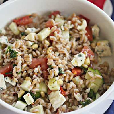 Farro Salad With Blue Cheese, Pine Nuts, and Tomatoes
