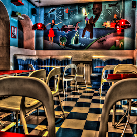 Snack Bar Restaurant by Marco Pisi - Buildings & Architecture Other Interior ( shop, interior, europe, hdr, chairs, colors, madrid, mural, table, furniture, restaurant, spain, tiles, floor, graffiti, lamp, bar, grafiti, wall )