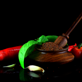 by Dipali S - Food & Drink Ingredients ( garlic, herb, food, curry leaves, mustard seeds, kitchen, basil )