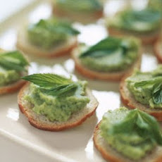 Crostini with Fava Bean Spread and Mint