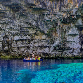 Melissani by Stratos Lales - Transportation Boats ( water, tourist, melissani, cave, boat )