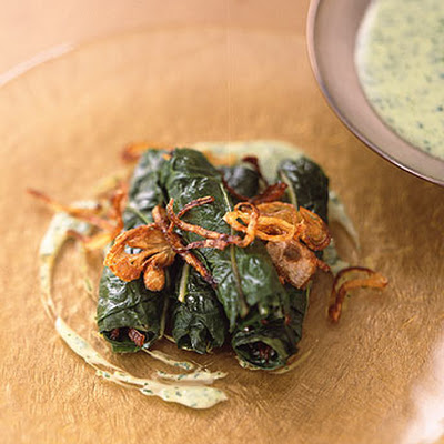 Swiss Chard and Crisp Shallot Rolls with Cilantro Raita