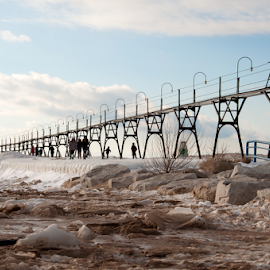 South Haven Lighthouse by Kelly Alholinna - Buildings & Architecture Bridges & Suspended Structures ( michigan, winter, lighthouse, frozen, south haven )