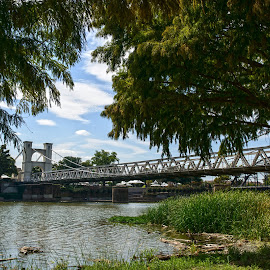 by Rebecca Belcher - Landscapes Travel ( suspension bridge, waco, texas, photographer, travel, historical, chisholm trail, professional, photography )
