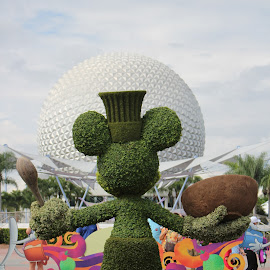 Topiary Mickey at EPCOT by Kimmarie Martinez - City,  Street & Park  Amusement Parks ( walt disney world, mickey mouse, topiary, epcot, disney )