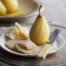 Saffron Poached Pears With Parmesan & Oat Biscuits