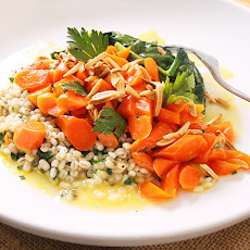 Orange-glazed Carrots with Ramp Barley and Spinach