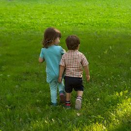 couple by Maša Pešut Kukina - Babies & Children Toddlers ( babies, girl, innocent, green, everyday, couple, kids, toddlers, walk, boy )