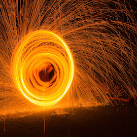 Burning Down The House by John Smith - Abstract Fire & Fireworks ( night photography, spinning, trick, tripod, sparks, fire )