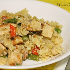 Chicken, Veggies, and Pasta in a Creamy Light Cheese Sauce