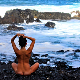 Naked in Nature by Venetia Featherstone-Witty - Nudes & Boudoir Artistic Nude ( naked woman, black sand beach, artistic nude, naked on the beach, female nude, hawaii,  )