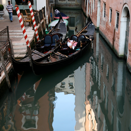 by Renée Politzer Nass - City,  Street & Park  Street Scenes ( two gondolas, venice, buildings )