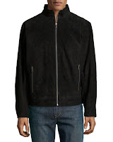Boston Harbour Suede Stand-Collar Jacket, Black