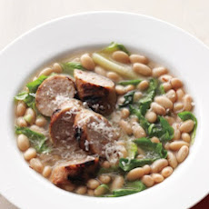 White-Bean Soup with Grilled Sausages