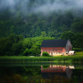 Quiet Reflection by Gina Haines Stocker - Buildings & Architecture Other Exteriors ( reflection, minnesota, red, barn, fog, red wing, summer, pond )