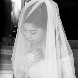 Beauty in Black by Peter Saikat - Wedding Bride ( woman, b&w, portrait, person )