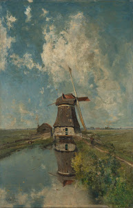 RIJKS: Paul Joseph Constantin Gabriël: A Windmill on a Polder Waterway, Known as 'In the Month of July' 1889